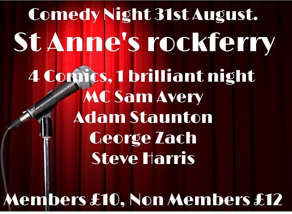 Comedy Night at St Anne's Rockferry for tickets contact the club direct on email below - Contact us at bha@ypcevents.com