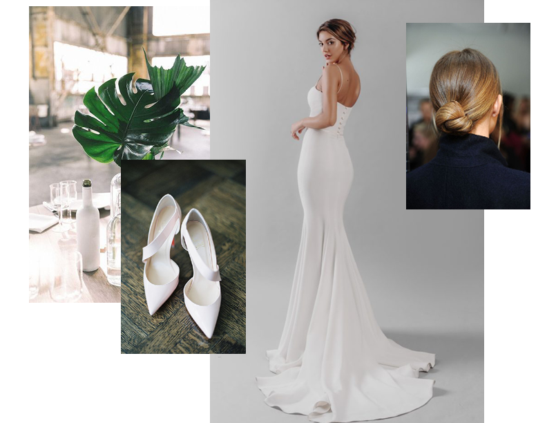 Minimal Lux - Perfect for the minimal bride, Team Ap have styled the Susannah with a loose sleek up-do.