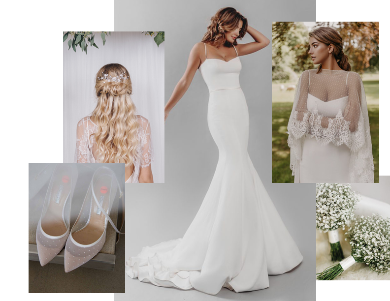 Polkadot - But not like you know it ... Team Ap look to modern capes to update the polkadot trend.Accessorise with beautiful pearl hairvines from Debbie Carlise to add a touch of tradition.