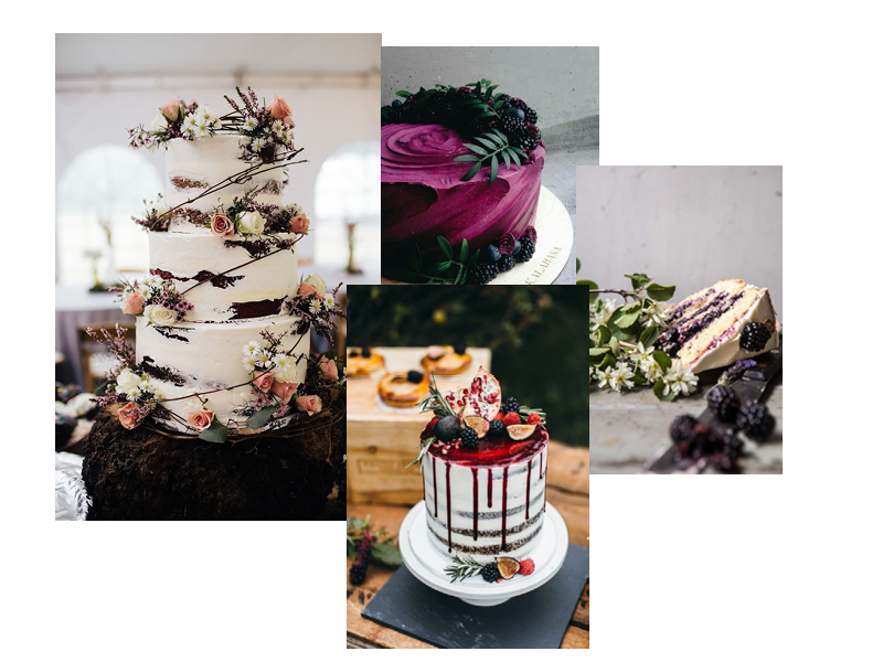 Forbidden Fruits - For a cake that tastes as good as it looks, ditch the black food colouring and ask your cake designer to work with natural dyes from seasonal fruits such as fig, blackcurrants and raspberry's.