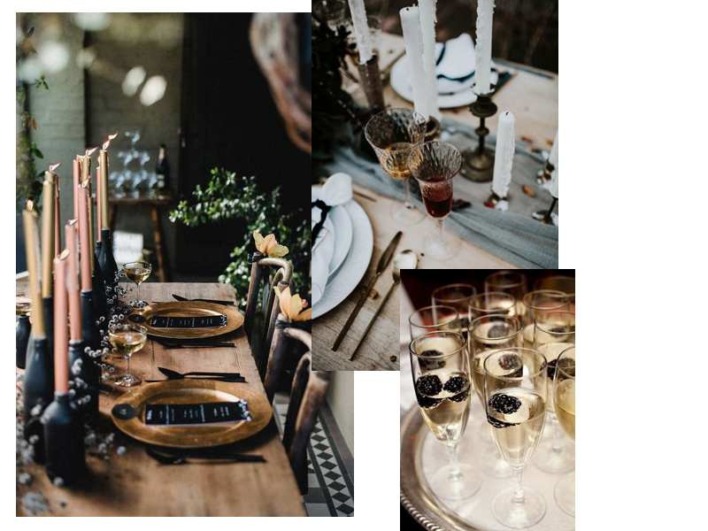 Table Decoration - Use mis-matching crystal glasses or paint old glasses matte black to create an eclectic feel to your table setting.Candles are a must!