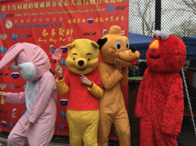 Members of CCA dressed as cartoon characters in last year's Lunar New Year Festival in Chinatown.   Photo credit: Linda Zheng