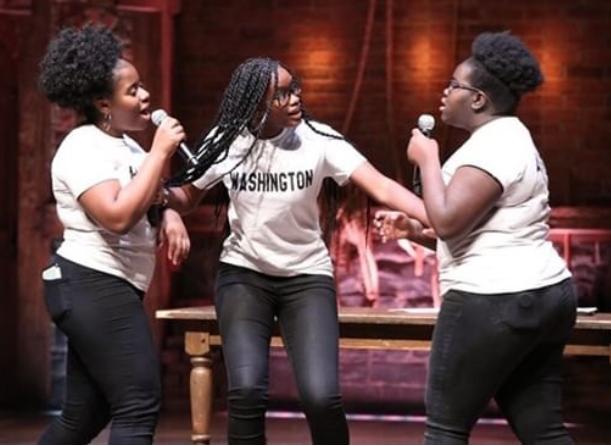 Adja Thomas '20, Adriel James '20, and Pheona Angoy '20 performed acapella at  Hamiliton  on Broadway.  Photo Credit: Taylor Grode