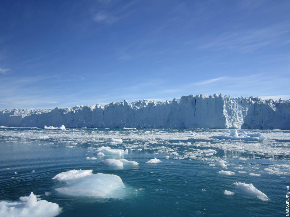 Rising temperatures cause glaciers to melt, which adds water to the world's oceans.  Photo Credit: NASA