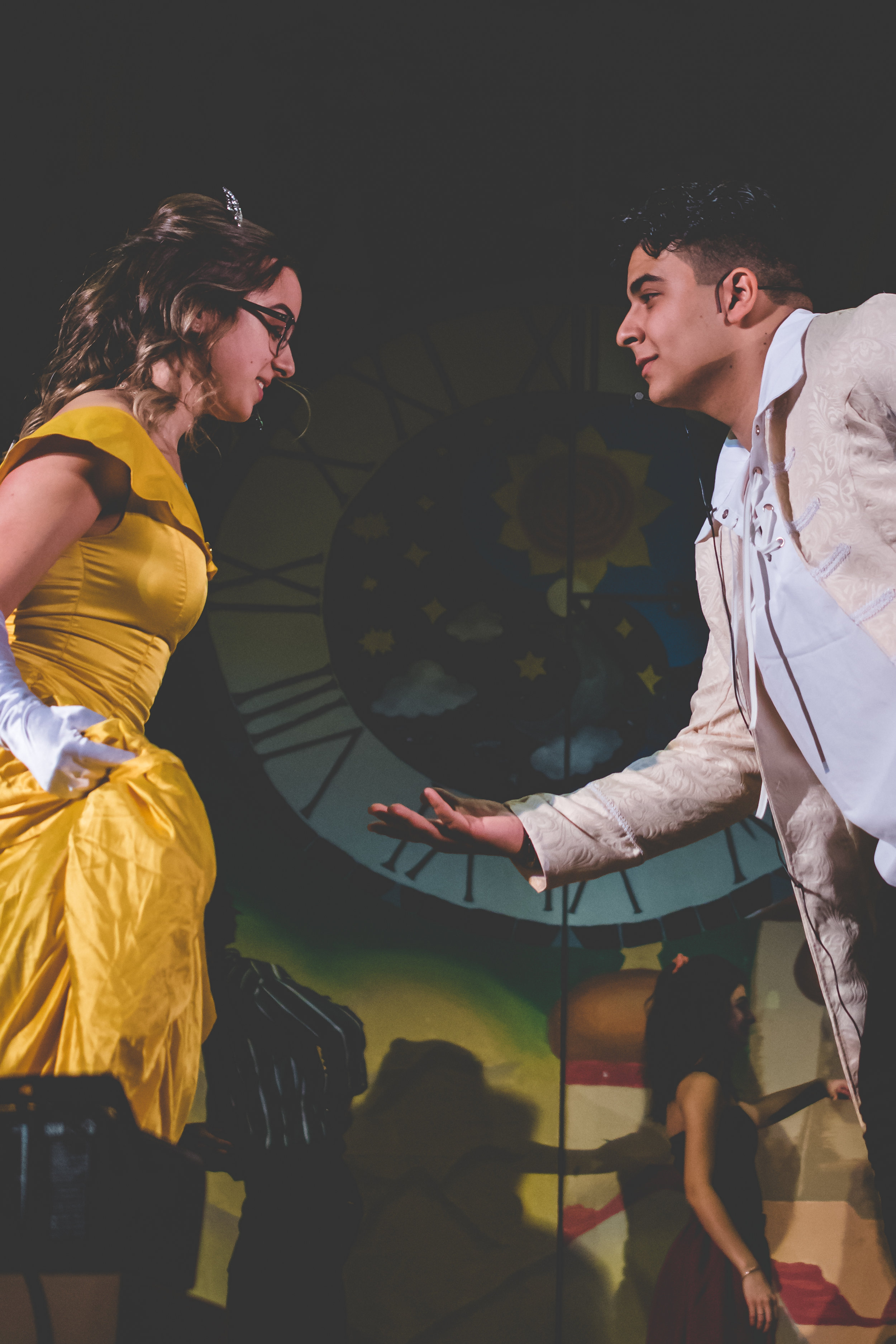 """Youssef Abourageh '19 and Olivia Zheleznyak '19 recreate """"Beauty and the Beast"""" during Senior SING!  Photo Credit: Justin Chow"""