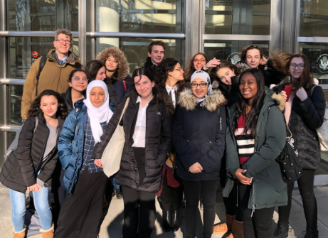 The Mock Trial team gets ready to compete at the Eastern District Court.  Photo Credit: Jennifer Yakubov