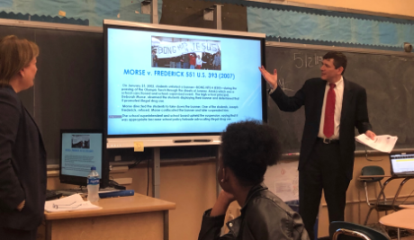 Judge Orenstein explains First Amendment rights to Humanities students.  Photo Credit: Ihtsham Chaudhry