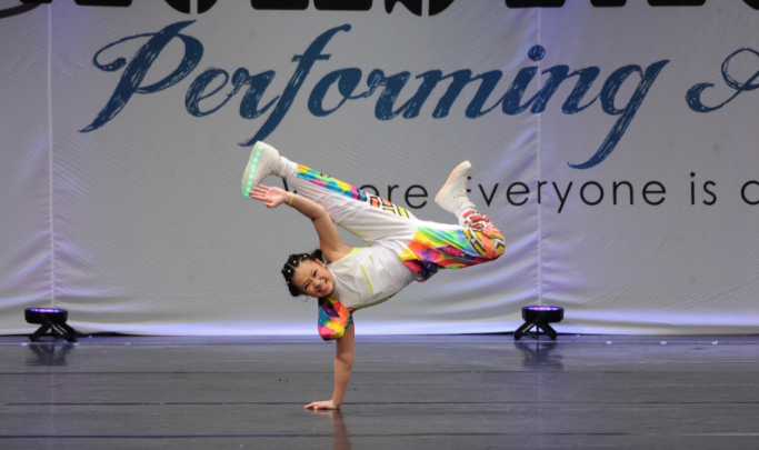 Crystal Wu '21 solo dances at a competition.  Photo Courtesy of Crystal Wu