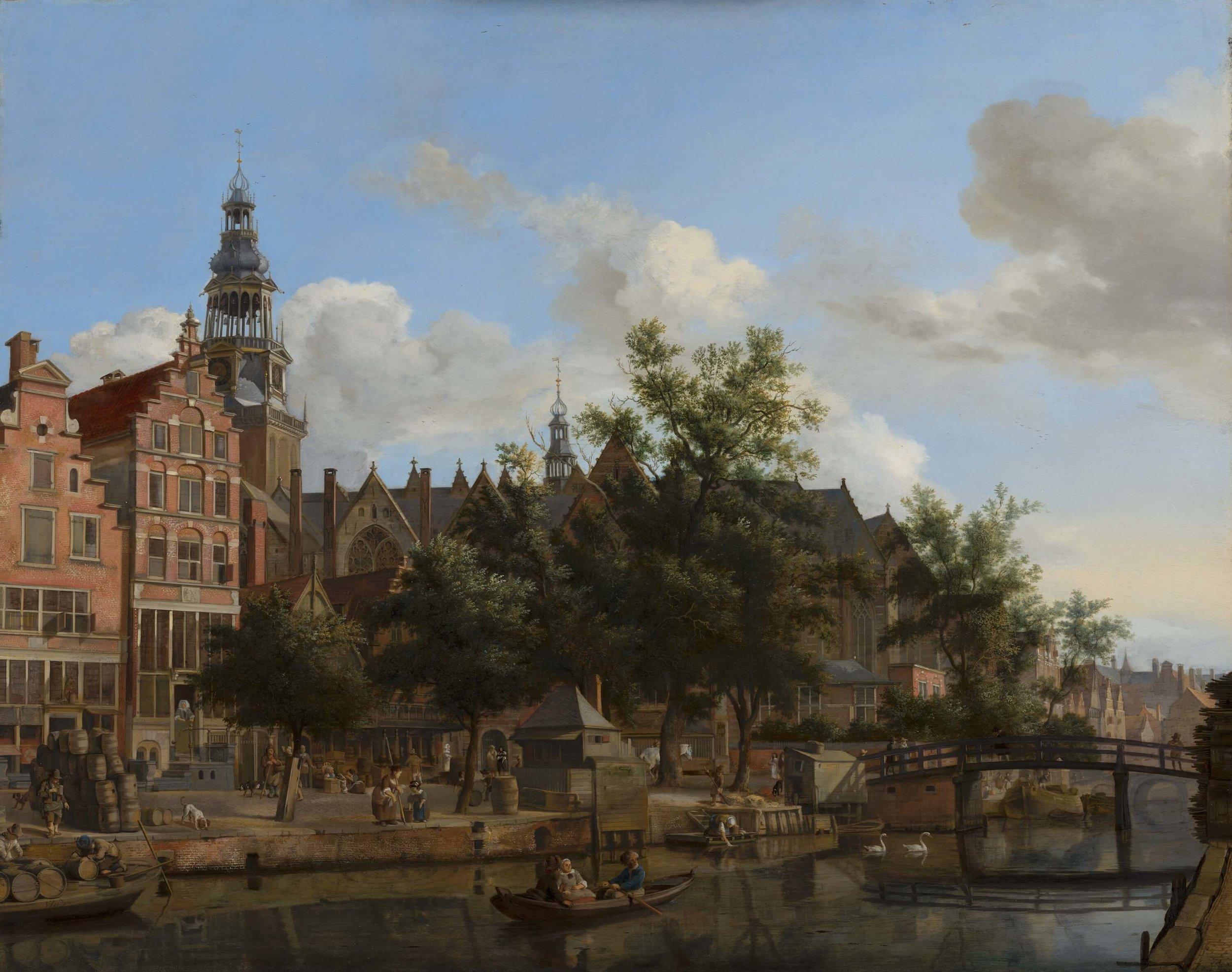 Painting by Jan van der Heyden called 'Gezicht op de Oudezijds Voorburgwal met de Oude Kerk in Amsterdam'
