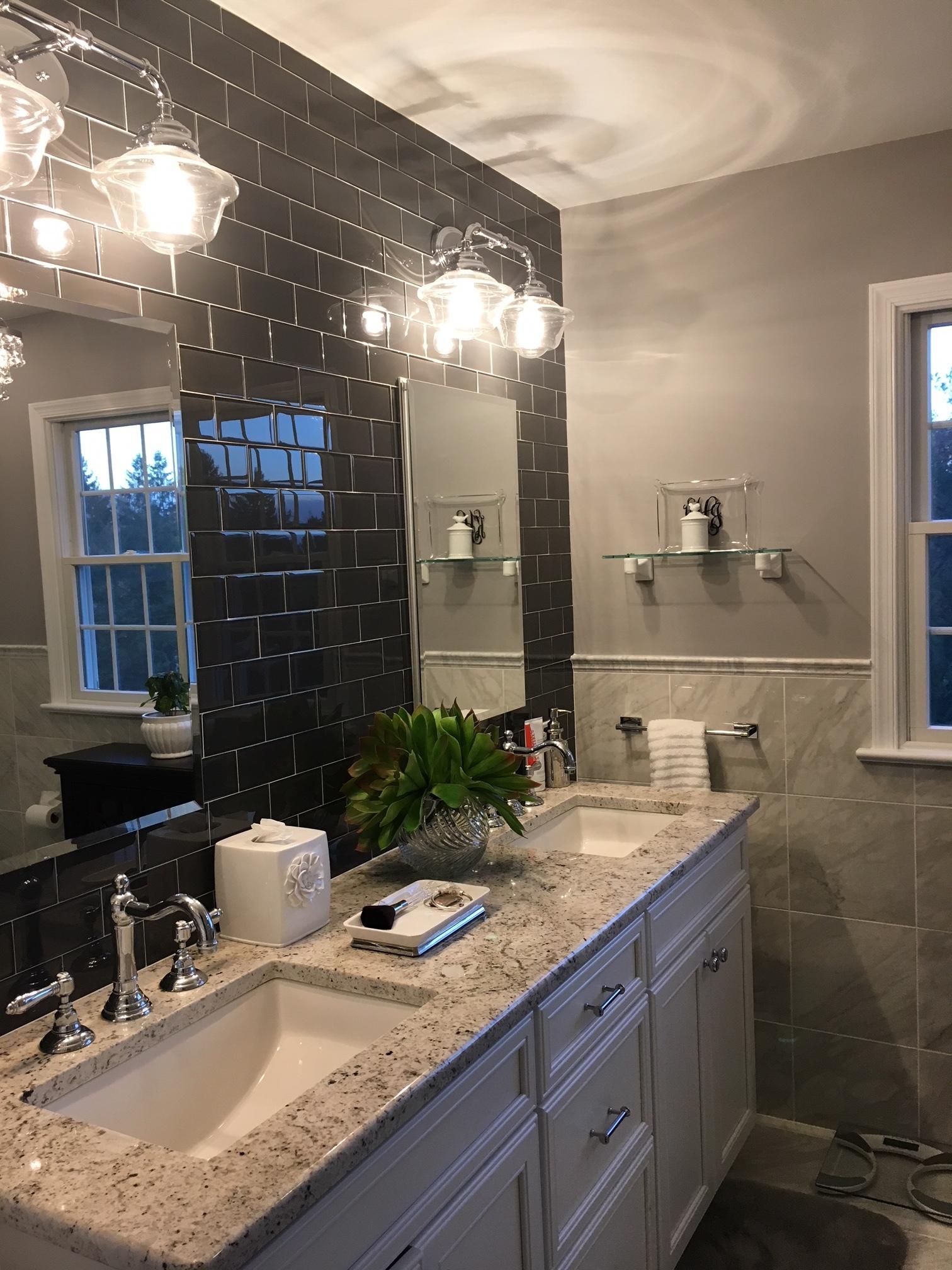 Glass Tile Feature Bathroom