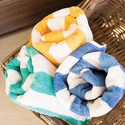 Pool Towel - TURQUOISE STRIPE: 30 X 70, 15 LB./DZ.BLUE STRIPE: 30 X 70, 15 LB./DZ.GOLD STRIPE: 30 X 70, 15 LB./DZ.