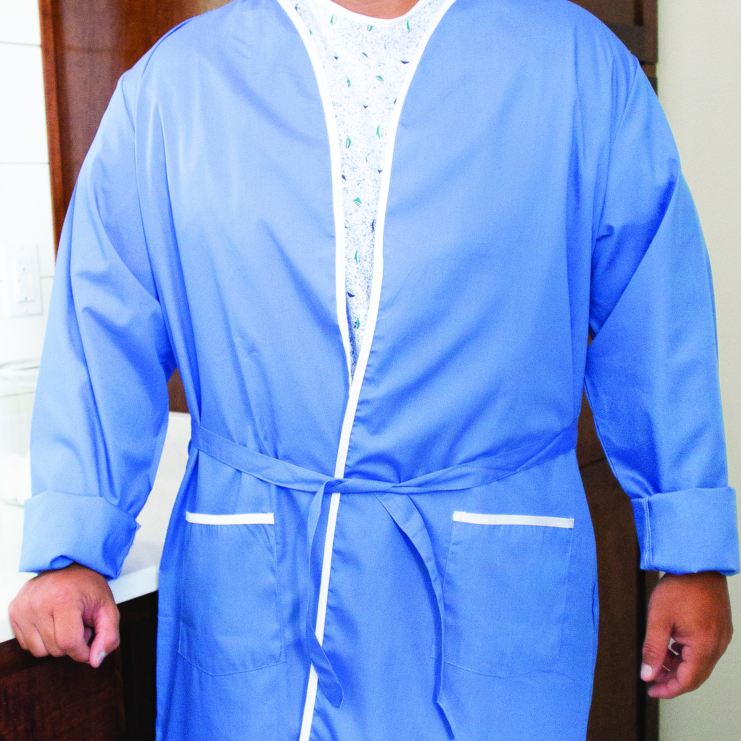 Ceil Blue Robe - 55/45 CTN/POLY CEIL BLUE FABRIC WITH WHITE TRIM