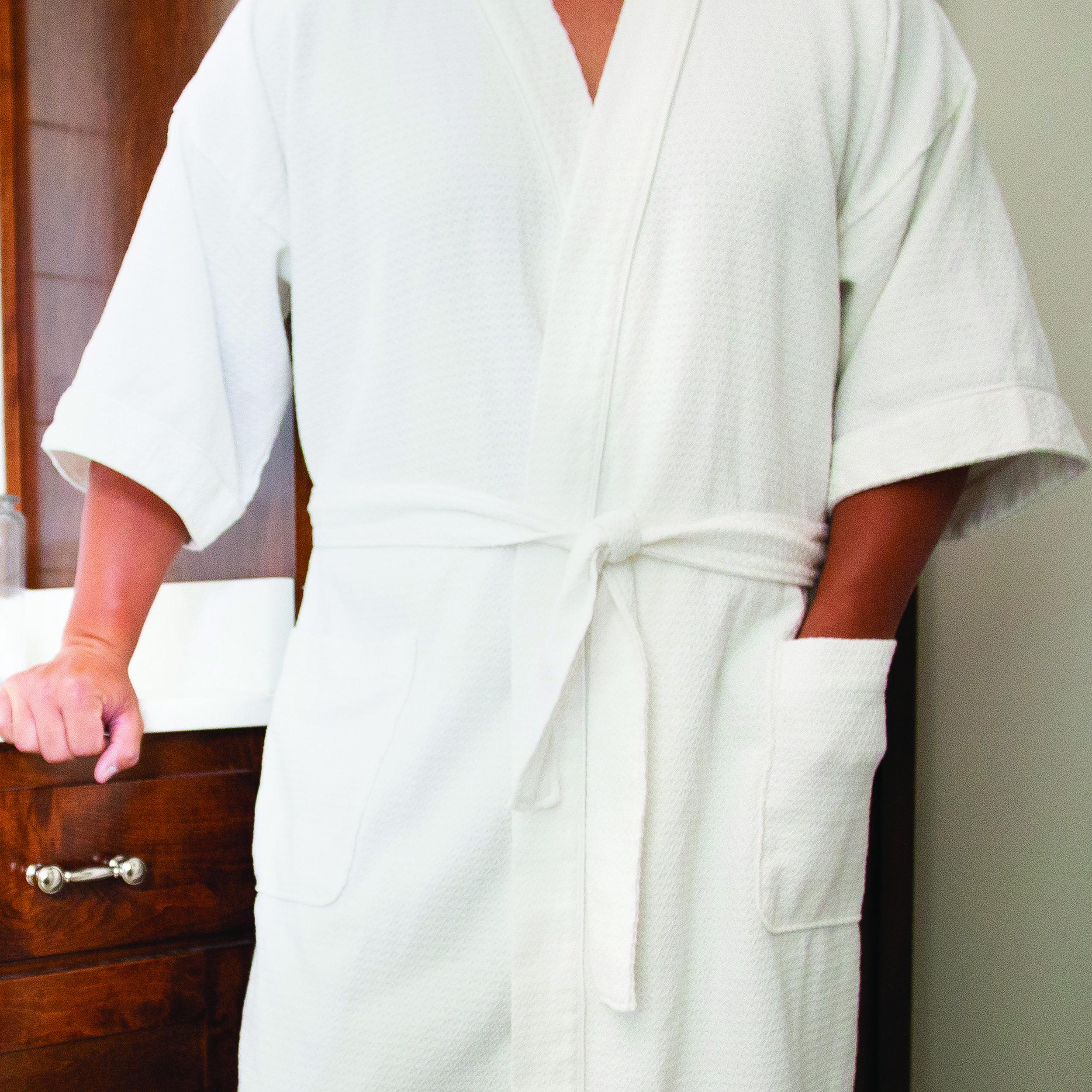 Kimono Robe - 65/35 POLY/CTN WHITE DIAMOND WEAVE