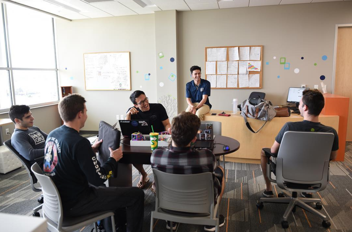 The Imprint Genius team in their office space in the UF Innovation Hub.
