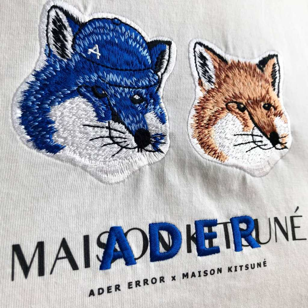 Another favourite collab is with Maison Kitsune under the fox branding. Gotta love an embroidered patch!