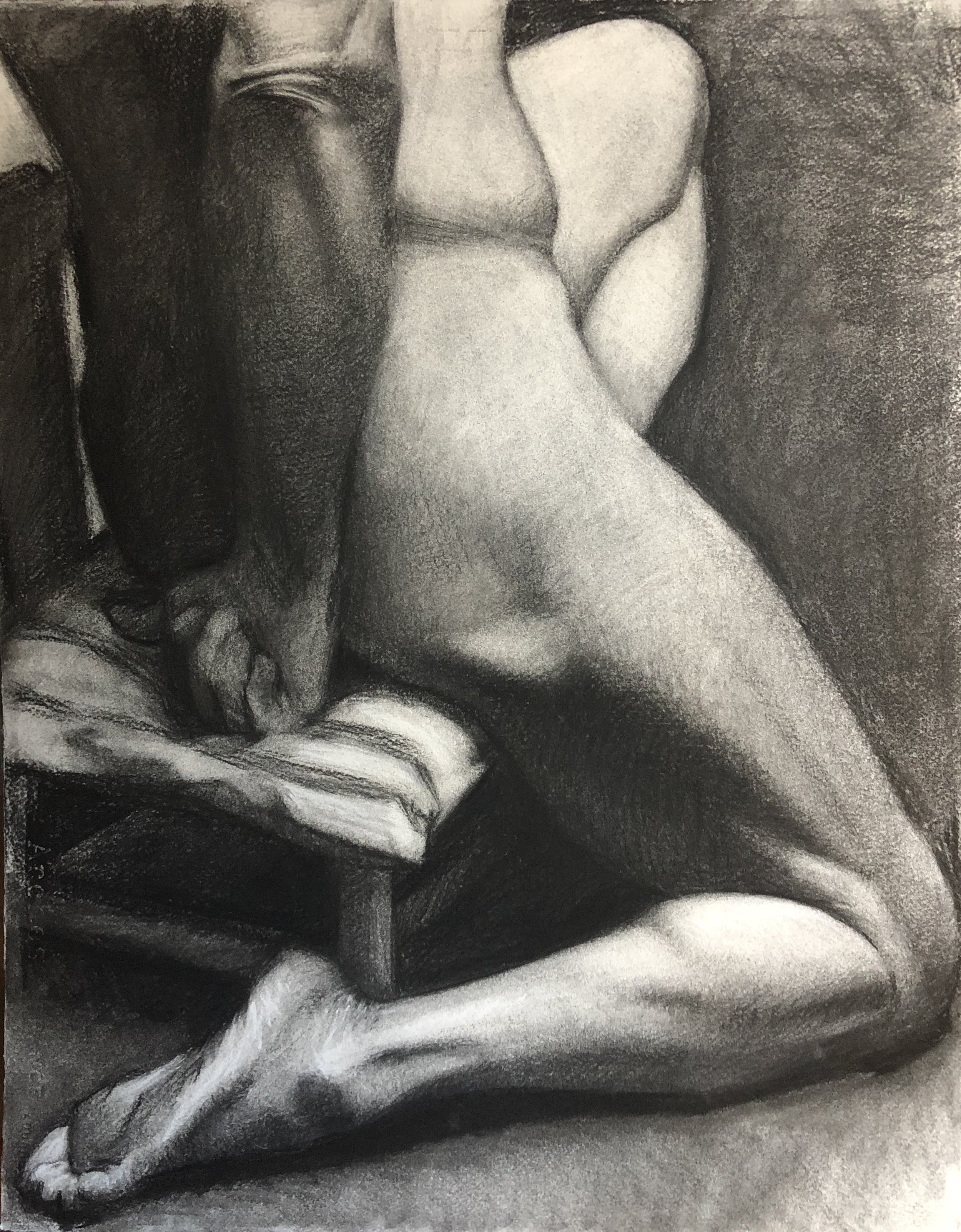 charcoal drawing created in a studio art class