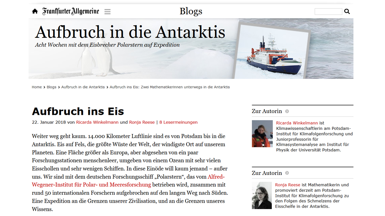 Expedition to Antarctica - Science. Ice. Climate Change.Impressions from our 2018 expedition to Antarctica on board research vessel Polarstern, led by Alfred-Wegener-Institute for Polar and Marine Sciences.  A Science Blog in Frankfurter Allgemeine Zeitung by Ricarda Winkelmann and Ronja Reese.
