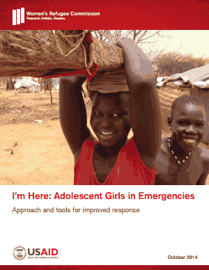 I'm Here: Adolescent Girls in Emergencies - Displaced adolescent girls face unique and daunting risks. With limited assets, agency, and mobility, girls cannot access life-saving resources, information, and social networks. Their vulnerability is compounded by a default, one-size-fits-all humanitarian approach.I'm Here is an operational approach for humanitarian actors to reach the most vulnerable adolescent girls, and to be accountable to their safety, health, and well-being from the start of a response to crisis. From the start of an emergency, I'm Here enables humanitarians to engaging girls in their own solutions, ensuring effective programs and protected rights.I'm Here provides humanitarians with the steps and field tools to:Proactively identify girlsAssess their needsBuild effective programsI'm Here is adaptable to varying on-the-ground situations. It has been field tested by several organizations in more than 25 communities across six crisis-affected countries.The Women's Refugee Commission is available to provide technical assistance with I'm Here implementation.