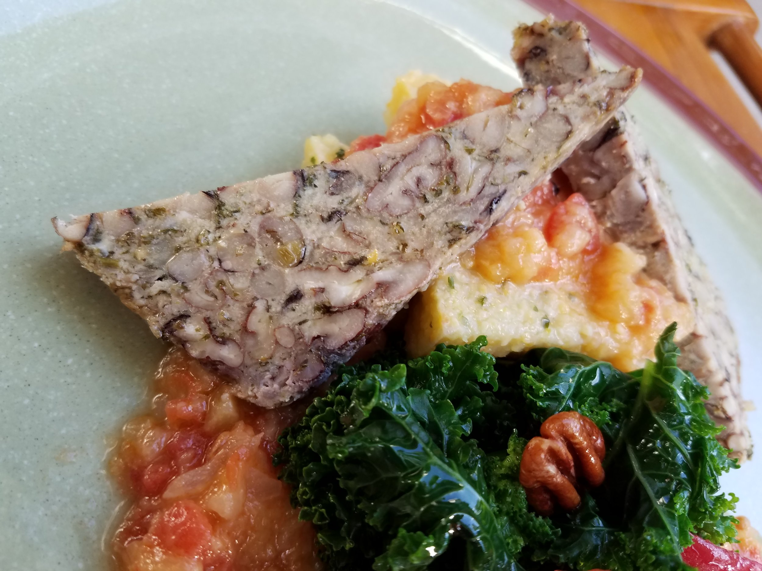 Black-Eyed Pea Loaf w/ Tomato-Peach Salsa -