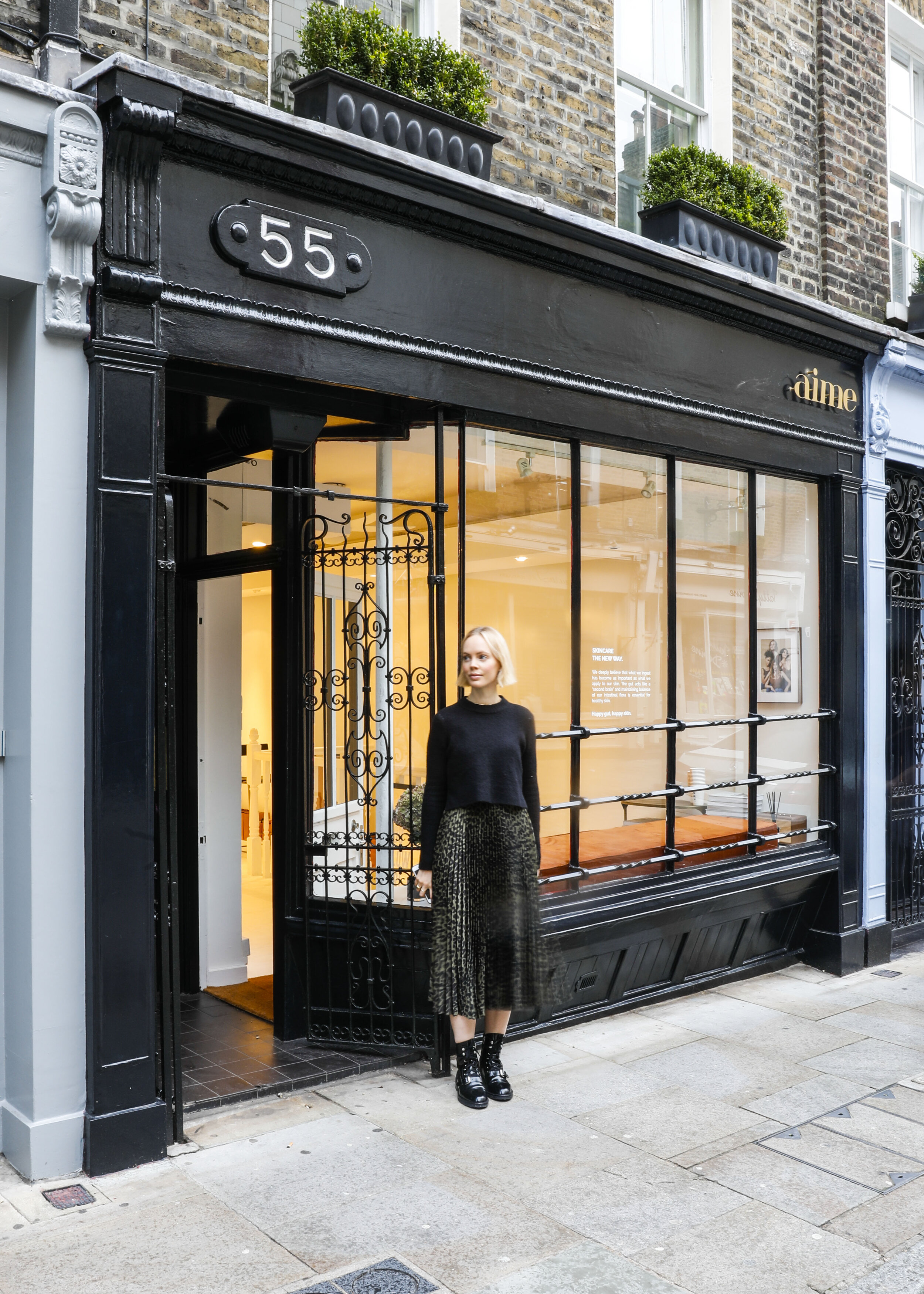 Aime founder, Mathilde Lacombe, outside the new Aime Seven Dials space.