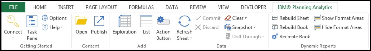 When you create a Dynamic Report, the IBM Planning Analytics ribbon changes and includes a Dynamic Report group