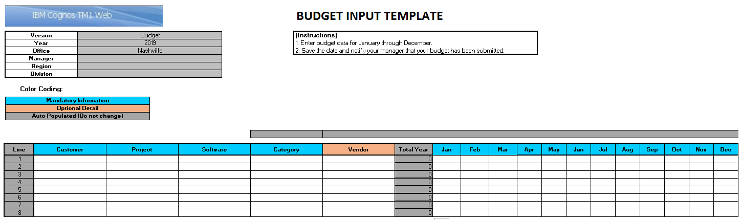 Excel Template for TM1 Web