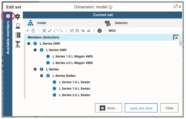 Planning Analytics Workspace Version 2.0.52 Set Editor Pane