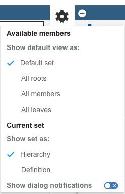 Planning Analytics 2.0.52 Default View Settings