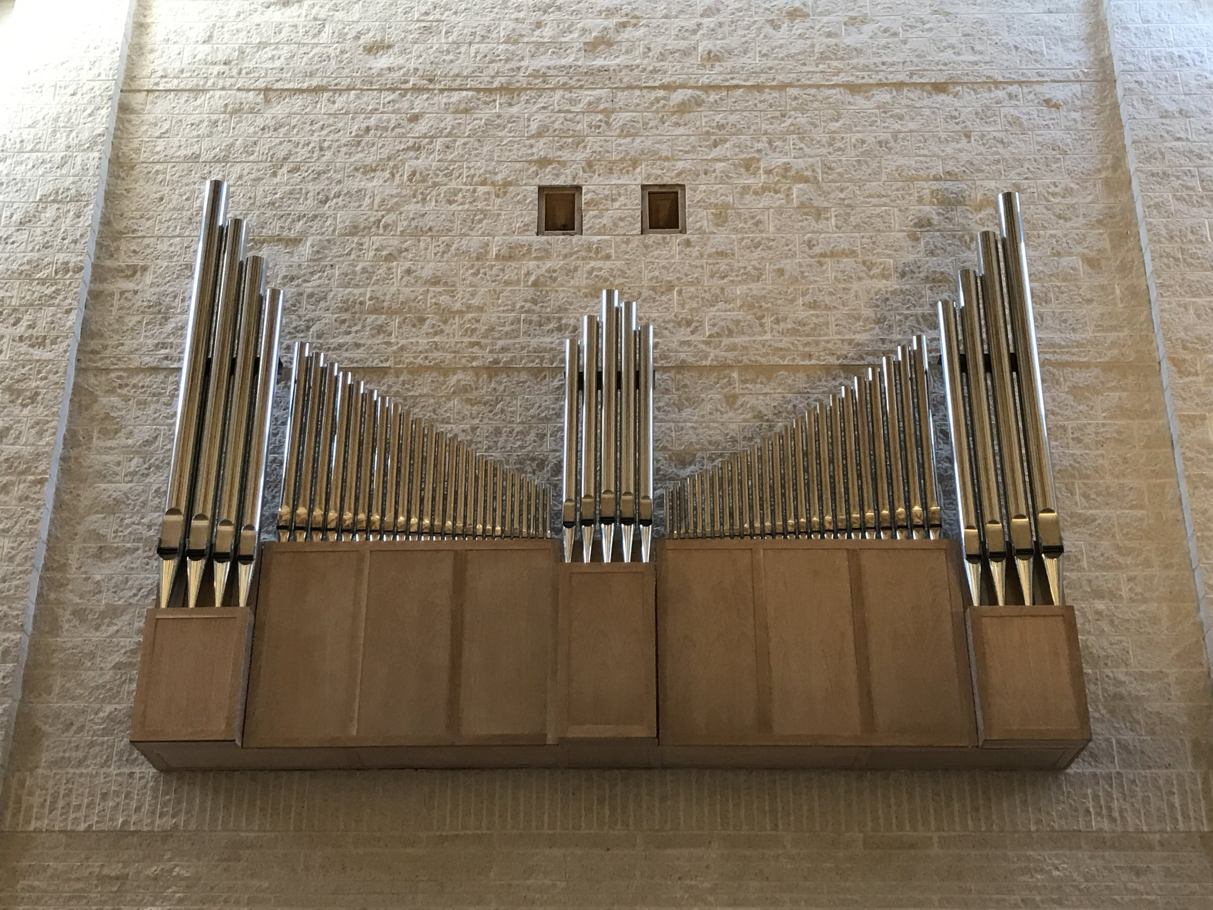 Principal rank of pipes on the back wall of sanctuary.