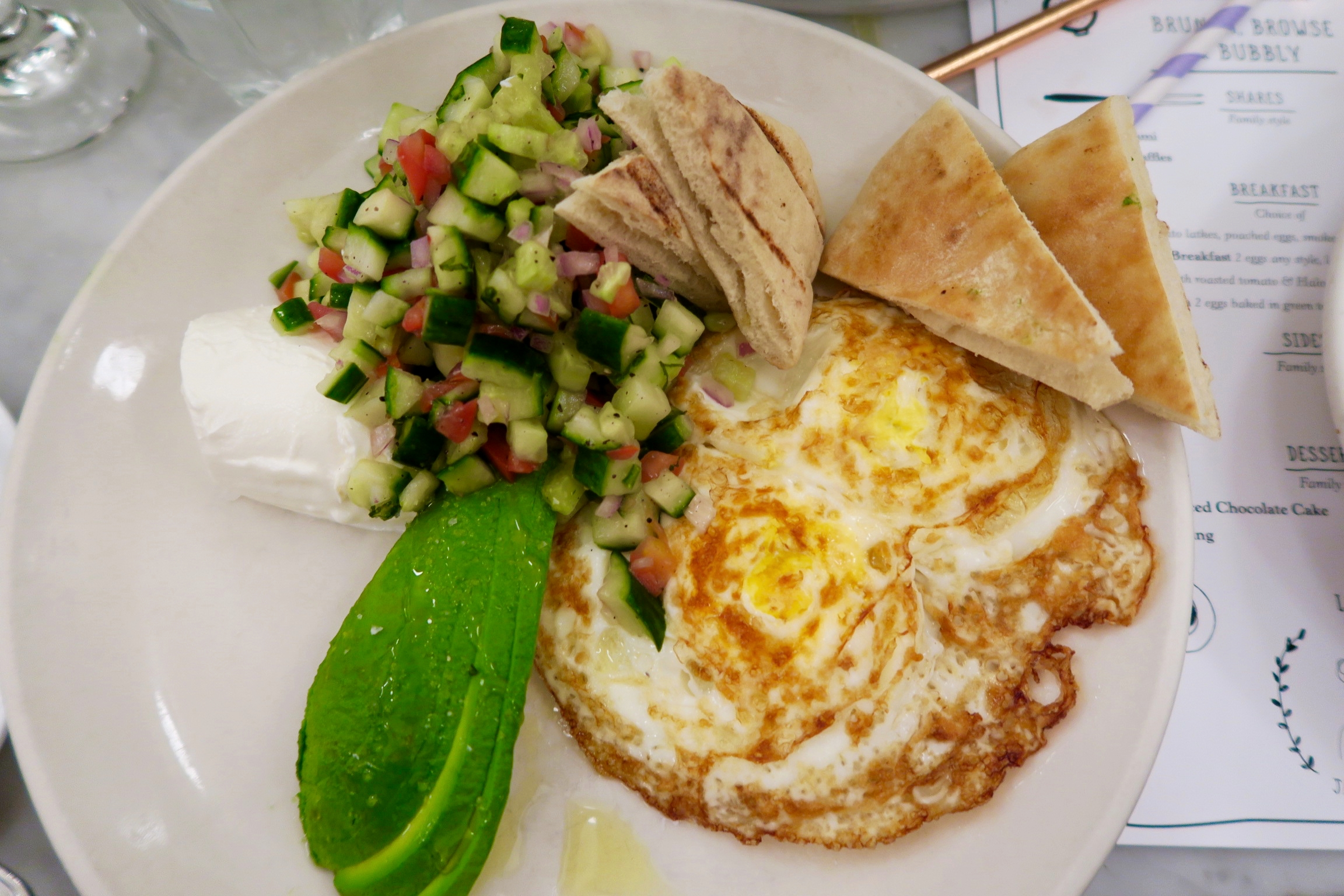 Mediterranean Breakfast  Two eggs any style, chopped salad, labne, avocado, and pita bread