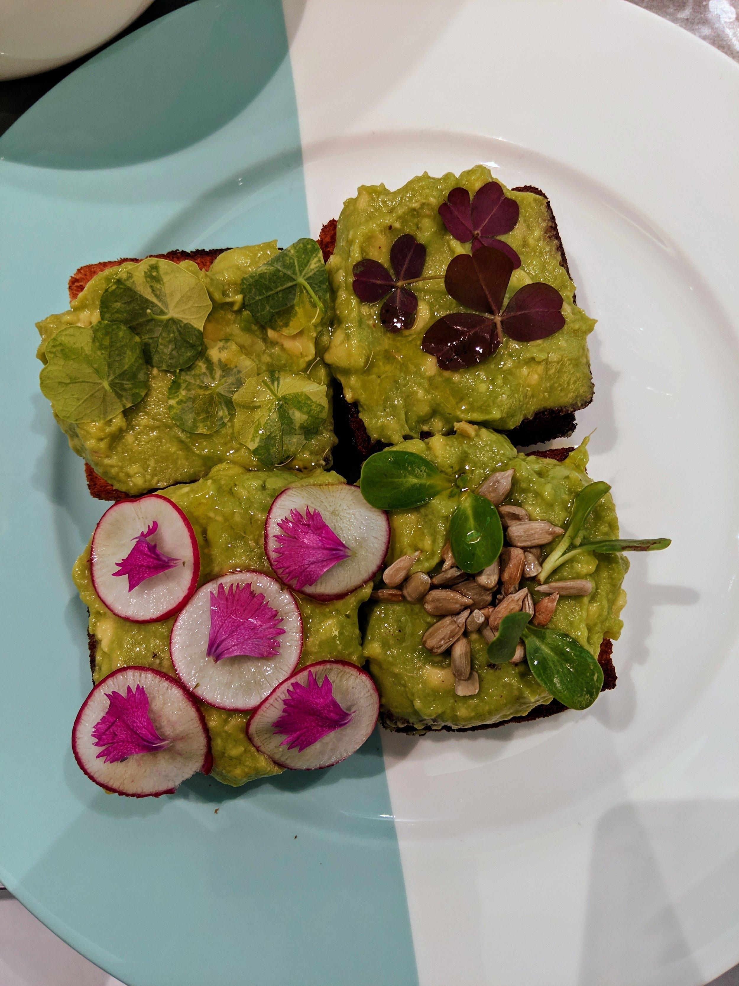 AVOCADO TOAST  Radish, nasturtium, sorrel, sunflower seeds & sprouts