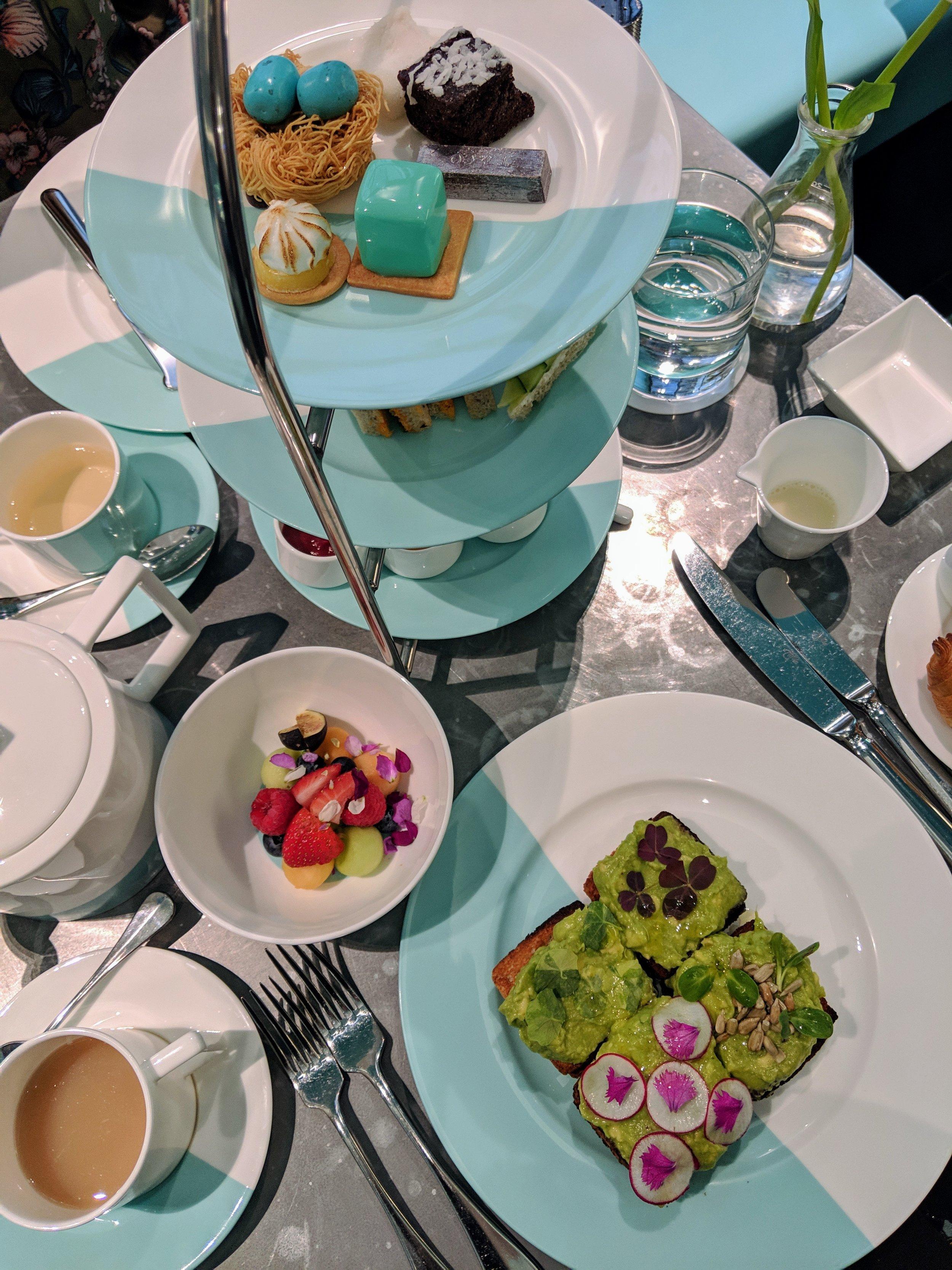 TIFFANY TEA  Tiffany's Bird's Nest, Blue Box Petit Four, Coconut Brownie, Key Lime Tart, Lemon Jelly Square, Chocolate Ingot