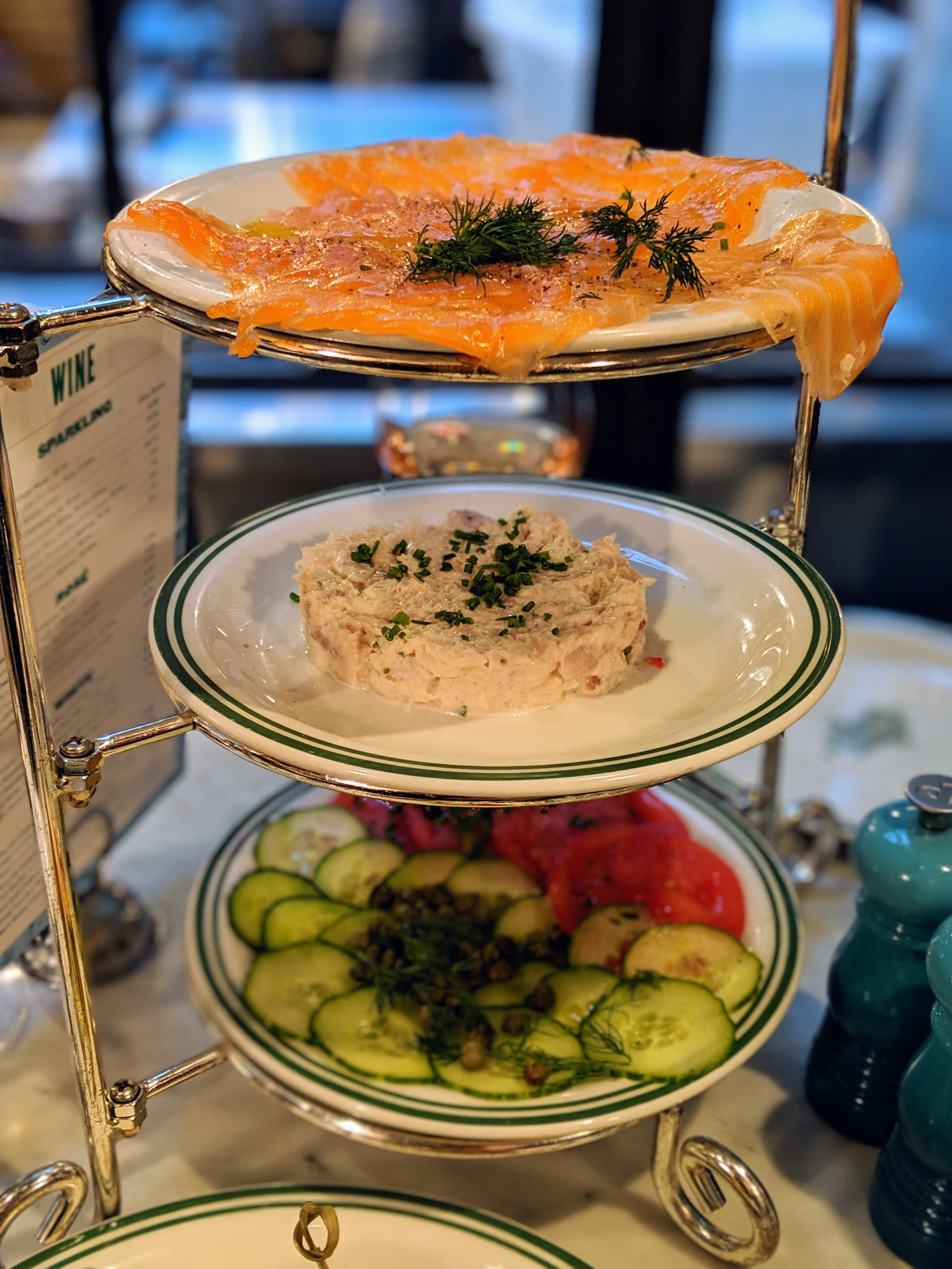 SADELLE'S TOWER  with cucumbers, capers, whitefish, and salmon