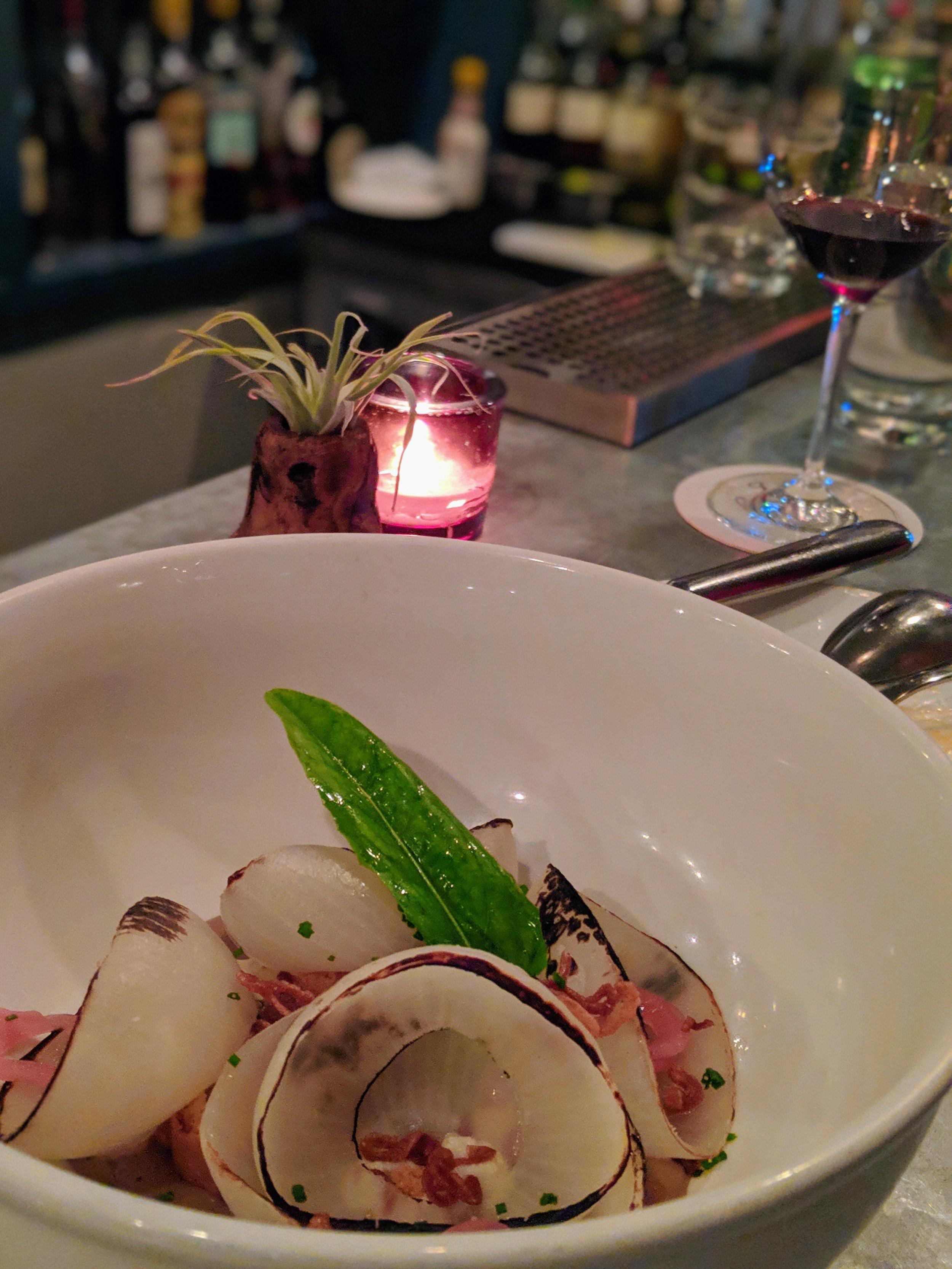 charred onion  smoked onion sauce, ricotta, crouton