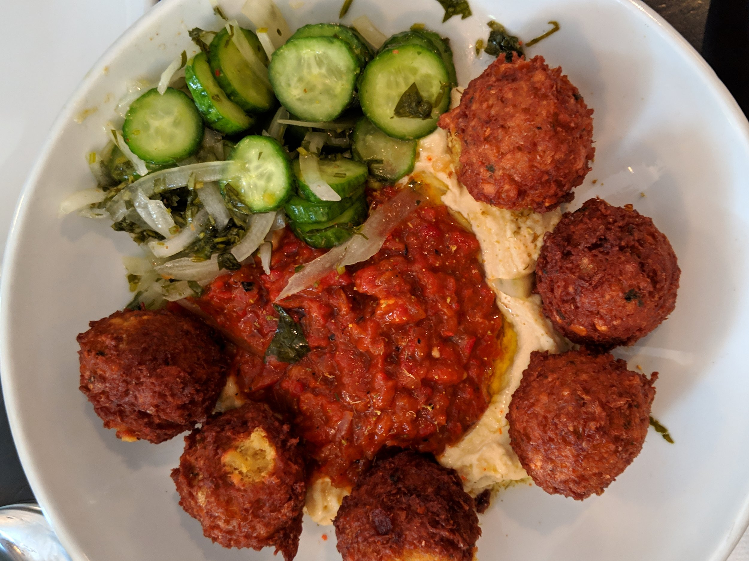 Falafel  with hummus, cucumber and harissa