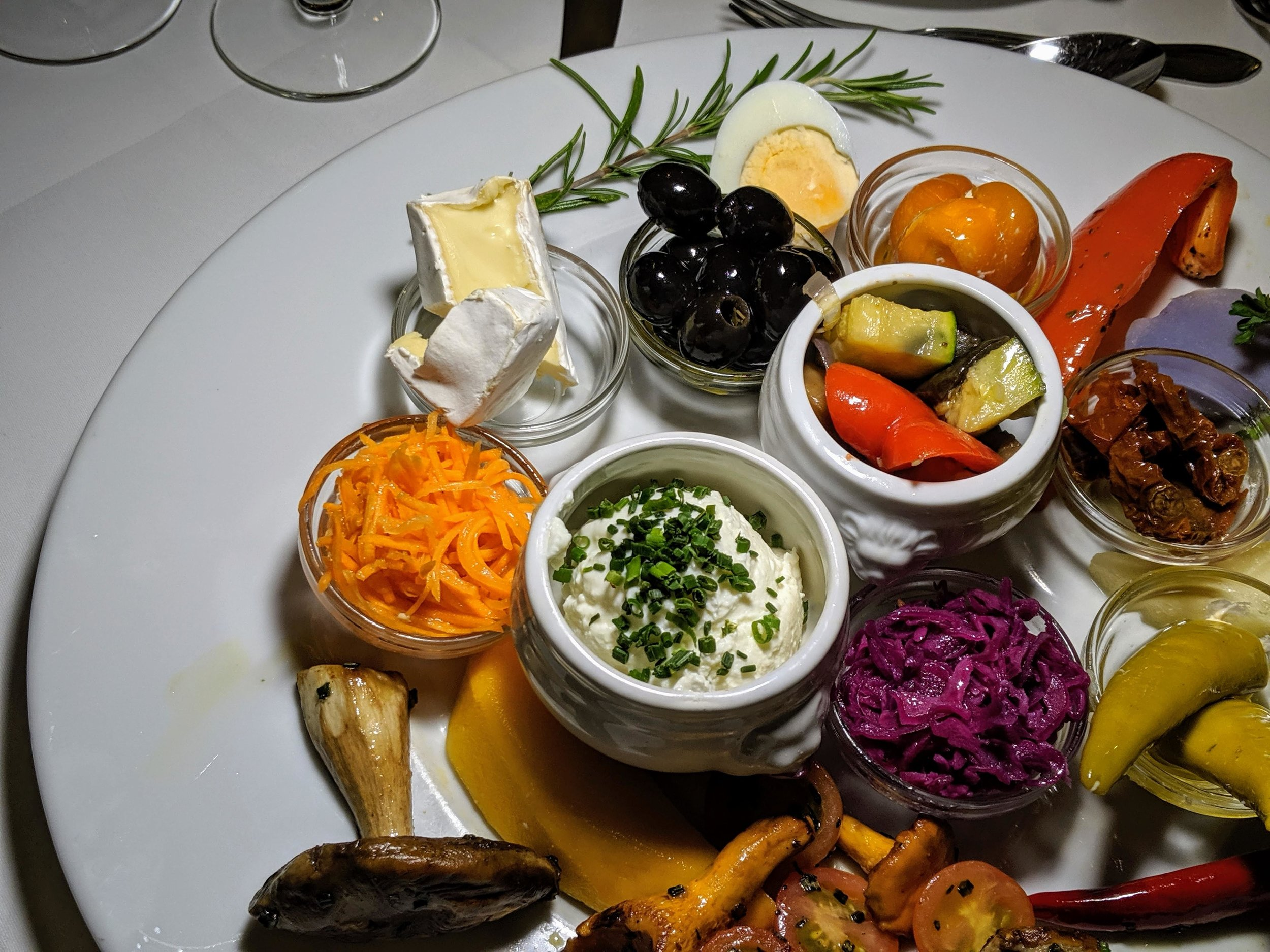 """The """"Mediterranean"""" sampler plate. (I swear every restaurant we went to had its own take on this Boursin-meets-Tzatziki spread."""