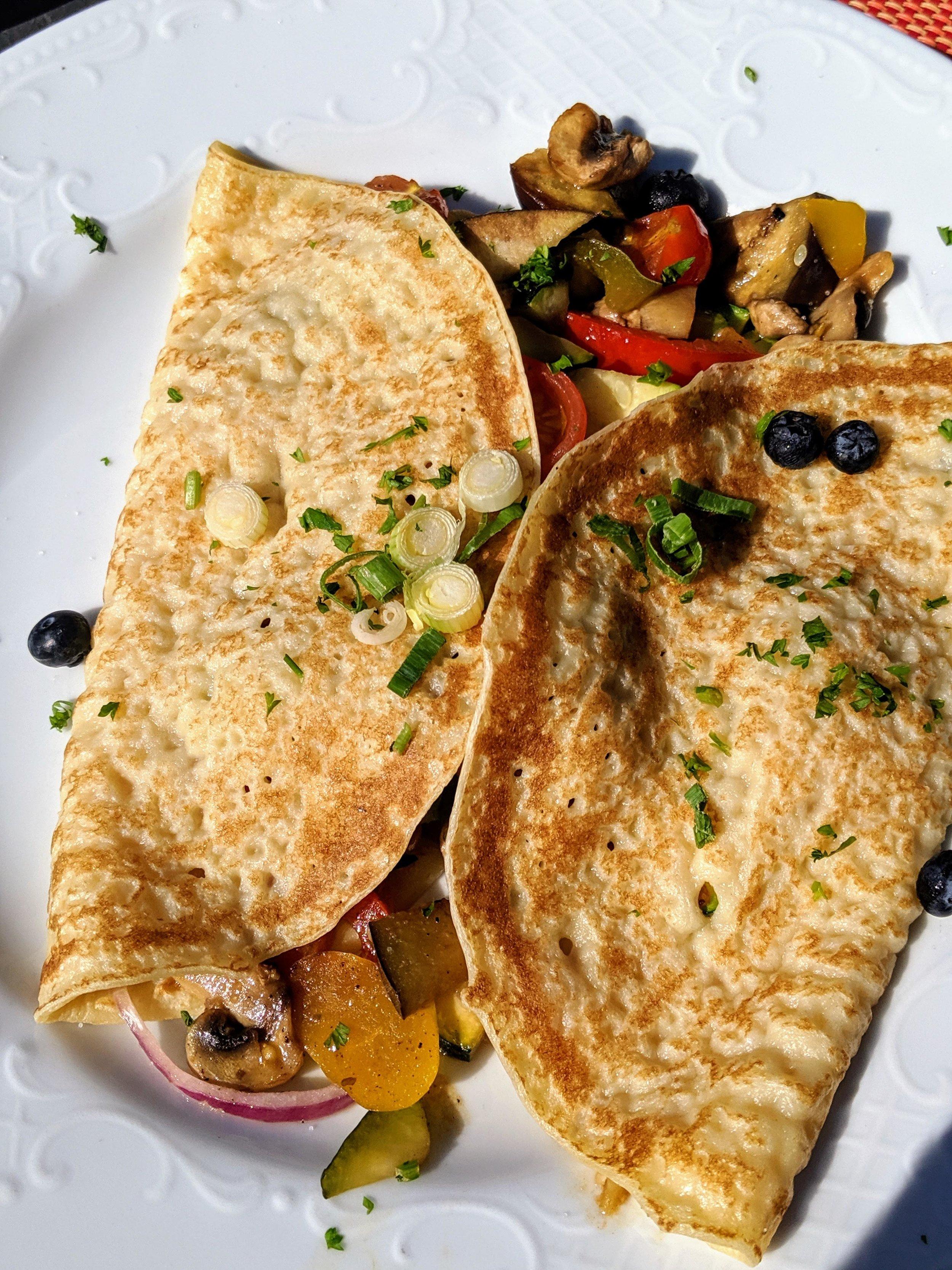 "A vegetable ""egg pancake"" as it was translated—basically a savory crêpe."