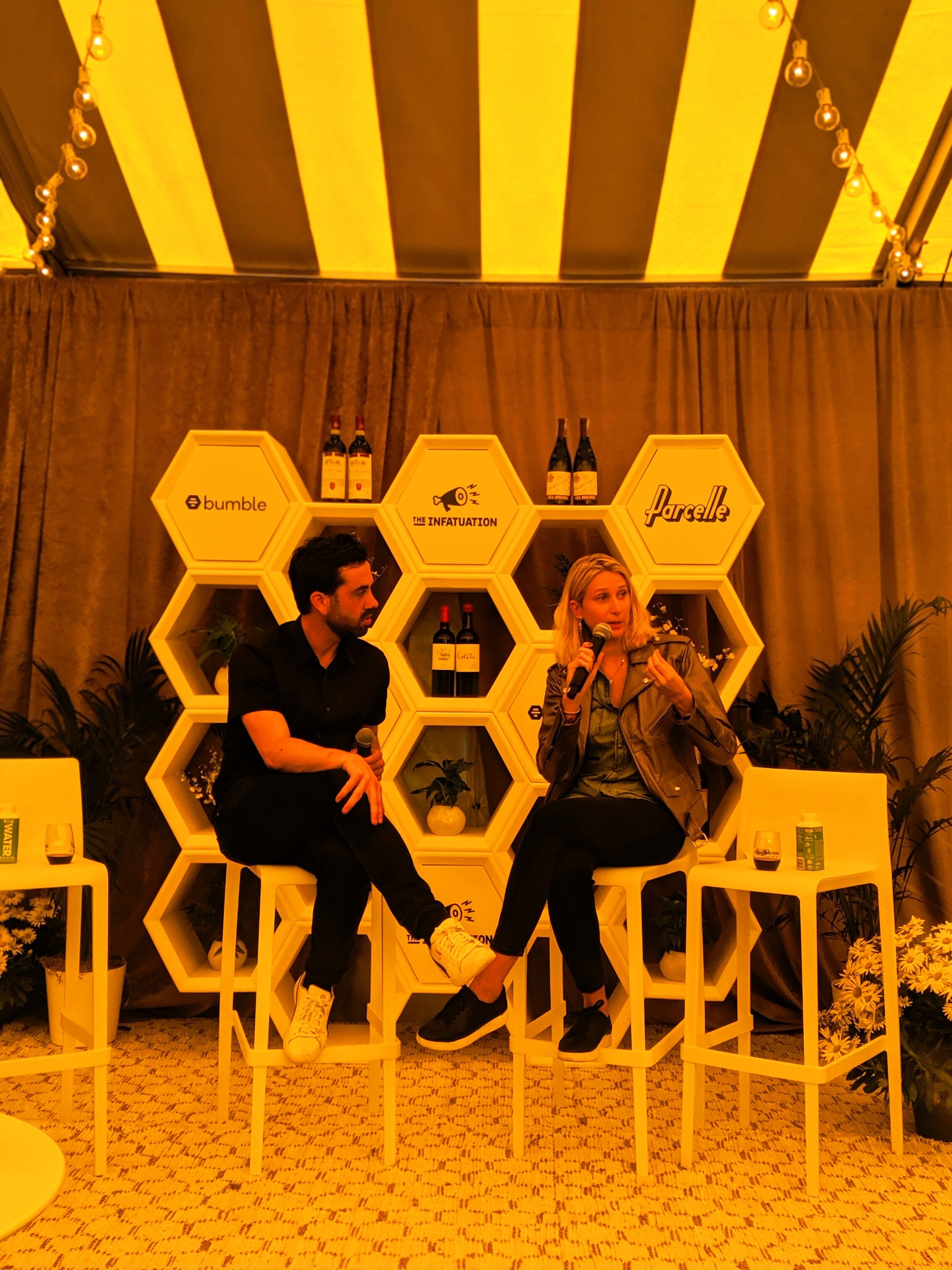 Marie Vayron  (right) in conversation with  Grant Reynolds  of Delicious Hospitality Group (the team behind restaurants like Charlie Bird and Pasquale Jones)