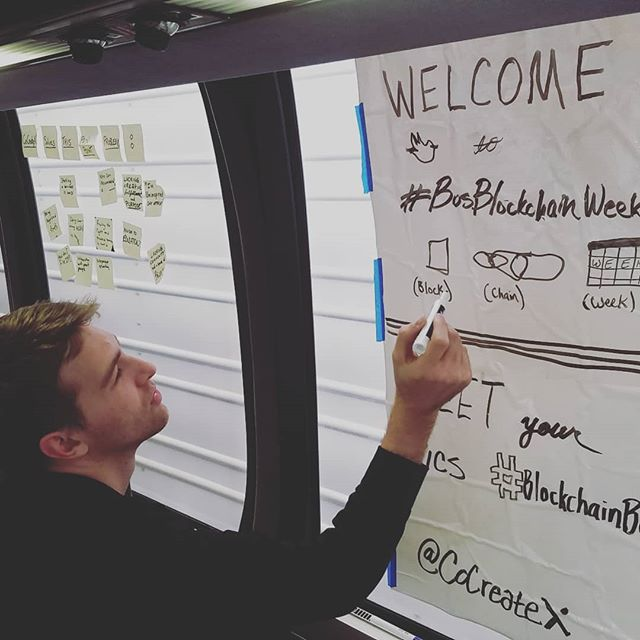 Our #Catalyst @_trevorlaughlin doing some freestyle design to give our guests on the #BlockchainBus some #hashtags! Thank you Bitcoin Market Journal!