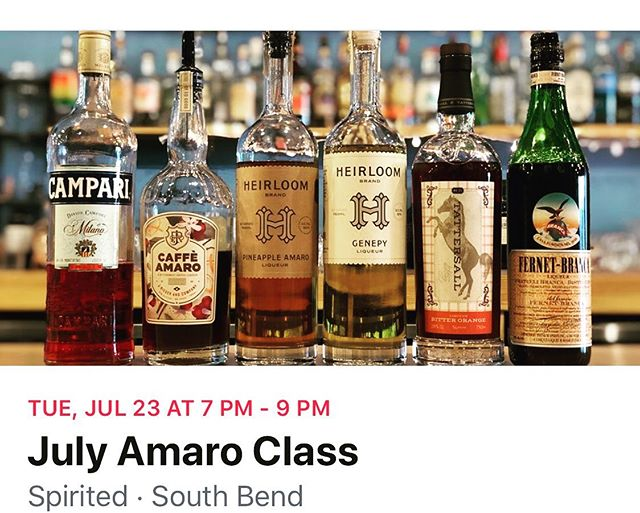 July's education class is going to feature amaro and @jafields2477 leading an amazing tasting of them! Sign ups are live, email info@spiritedsouthbend.com to reserve your spot!