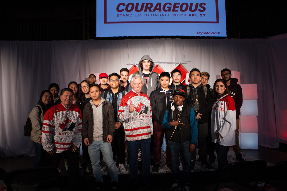 MySafeWork president Rob Ellis (center) with a group of students from Bishop Marrocco/Thomas Merton Catholic Secondary School and Regional Arts Centre, who attended the Courageous 2018 event.