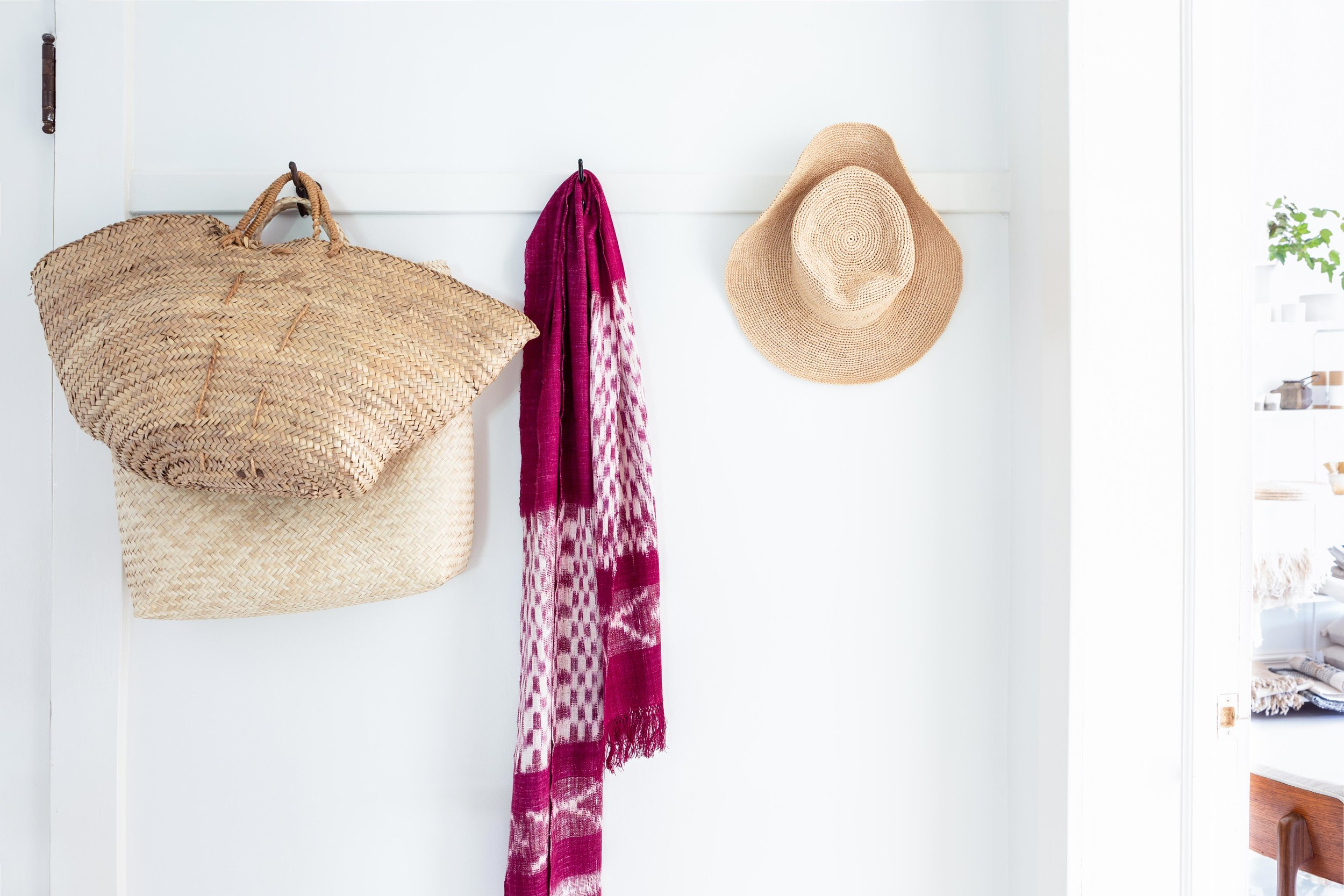 Big handwoven bags, an artisan-crafted sun hat, a lightweight wool scarf: just a few things guests might need for the beaches and streets of Lakeside, Michigan.