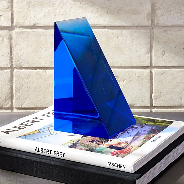Deep Blue Acrylic Bookend by CB2 $99.95