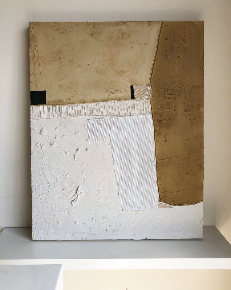 """32"""" x 40"""" mixed media abstract on wood panel $4,650"""