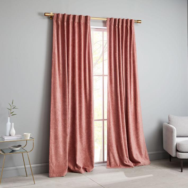 Worn Velvet Curtain, Pink Grapefruit $99