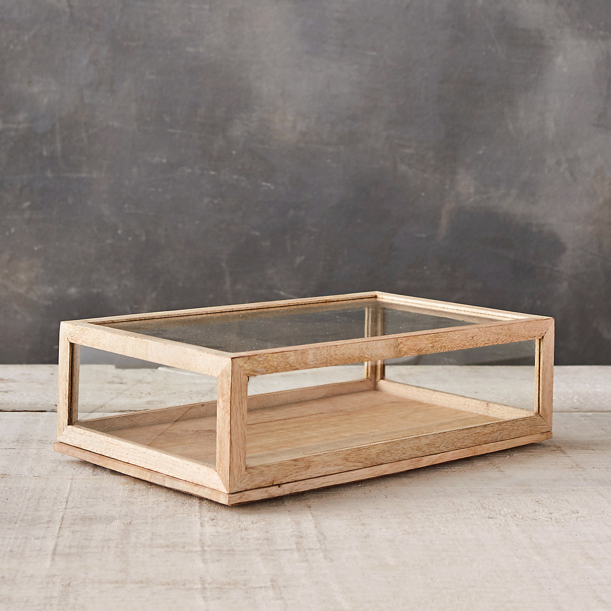 Bleached Rectangle Display Case $98
