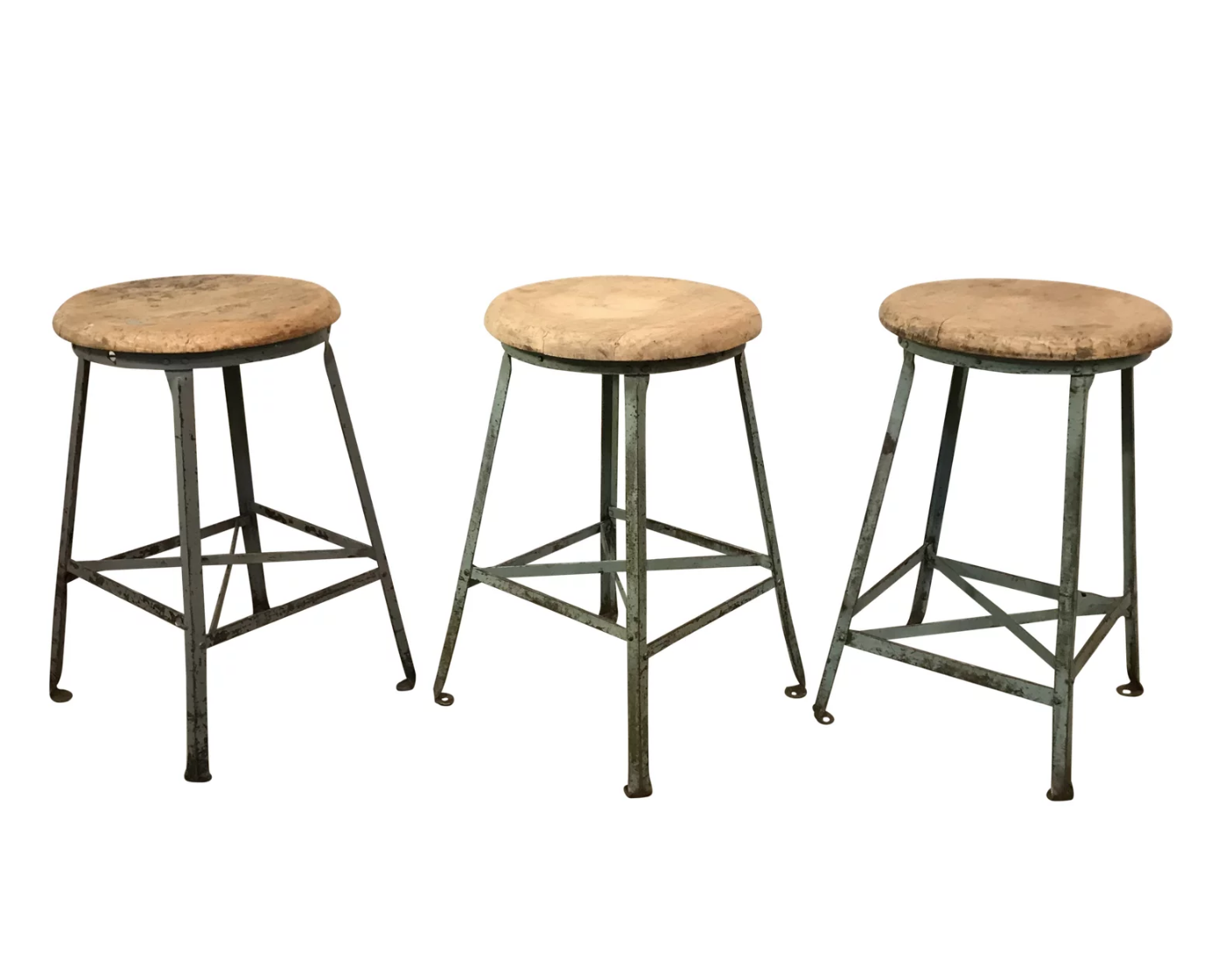 Set of 3 Industrial Farmhouse Wooden Top Metal Stools $395