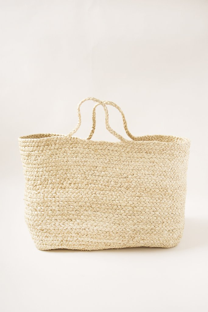 RAFFIA BRAIDED BASKET BAG $180