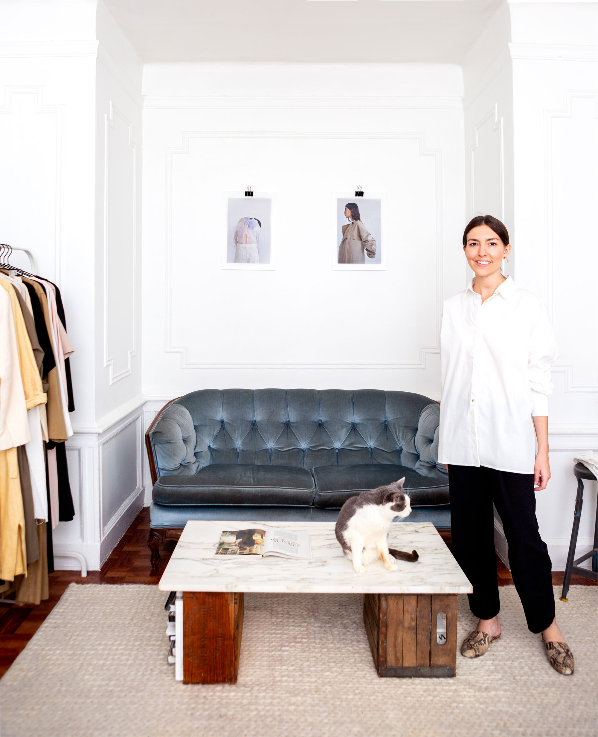 Christina De Smet and her rescue cat, Miles, in the Crown Heights, Brooklyn, apartment and studio that she shares with her husband, Dermot Reddan.