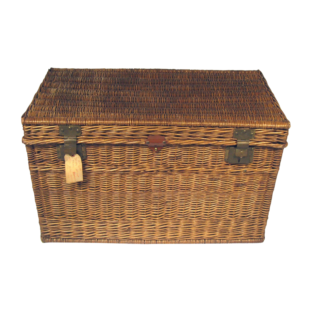 Large Antique French Wicker Trunk $340
